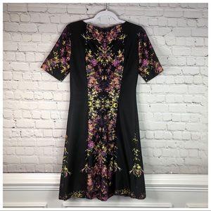 Tahari Black and Floral Short Sleeve Dress